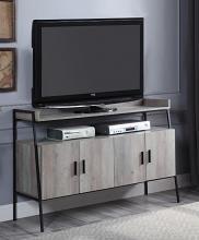 Acme LV00151 17 stories samiya mid century retro modern grey oak driftwood multi tone finish wood tv stand black metal frame
