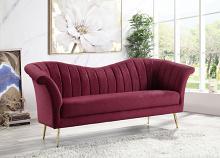 Acme LV00202 Everly quinn annajoy callista red velvet tufted fabric sofa with metal legs