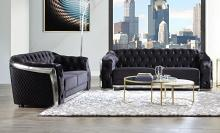 Acme LV00296-97 2 pc Everly quinn geter Pyroden black velvet fabric modern chesterfield tufting sofa and love seat metal accents