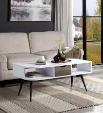Acme LV00322 Latitude run halima white finish wood mid century modern coffee table with drawer