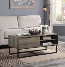 Acme LV00323 Latitude run homare brown driftwood finish wood mid century modern coffee table with cabinet