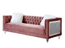 Acme LV00327 Everly quinn annajoy heiberoll pink plush velvet fabric sofa mirrored side trim with faux diamonds