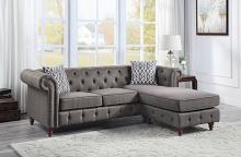 Acme LV00499 Kelly clarkson home waldina brown fabric chesterfield tufted back style sectional sofa with reversible chaise