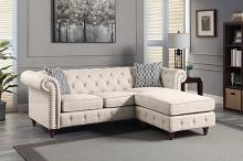 Acme LV00643 Kelly clarkson home waldina beige fabric chesterfield tufted back style sectional sofa with reversible chaise