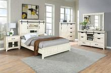 Vilo Home VH-2710-4PC 4pc Carona grey modern western antique white finish wood country style barn door queen bedroom set
