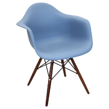 Neo Flair Mid-Century Modern Chairs in Bleu Slate and Espresso  - Set of 2