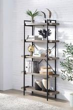 Acme OF00013 17 stories effiong zakwani antique grey and black finish multi tier book shelf with lipped edge shelves