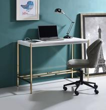 Acme OF00020 Everyly quinn brahmjot white finish wood top and gold metal finish frame office student writing desk