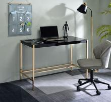Acme OF00021 Everyly quinn brahmjot black finish wood top and gold metal finish frame office student writing desk