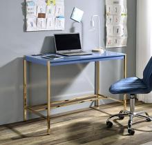 Acme OF00022 Everyly quinn brahmjot blue finish wood top and gold metal finish frame office student writing desk