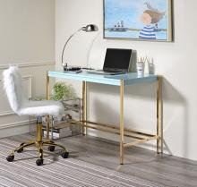 Acme OF00023 Everyly quinn brahmjot light blue finish wood top and gold metal finish frame office student writing desk