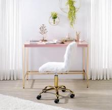 Acme OF00024 Everyly quinn brahmjot pink finish wood top and gold metal finish frame office student writing desk