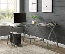Acme OF00041 Mercer 41 micah janison clear glass and silver metal finish frame corner desk