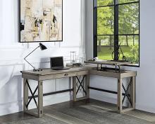 "Acme OF00053 Talmar gray oak finish wood ""L"" shaped writing office desk with pop up desk top"