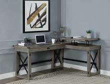 """Acme OF00054 Talmar gray finish wood """"L"""" shaped writing office desk with pop up desk top"""