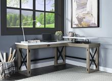 """Acme OF00055 Talmar oak finish wood marble top """"L"""" shaped writing office desk with pop up desk top"""