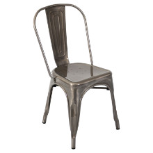 Oregon Stackable Industrial Dining Chair - Set Of 2 in Brushed Silver