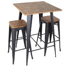 Oregon Industrial Pub Set in Grey Frame with Medium Brown Wood