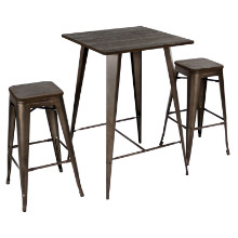 Lumisource B-OR3PC-DKE-AN Oregon Industrial Pub Set in Antique Finish Frame with Dark Espresso Wood
