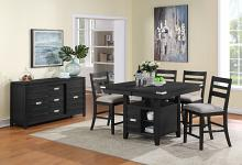 VH-2800-5PC 5 pc Gracie oaks palermo black wire brush finish wood counter height dining table set