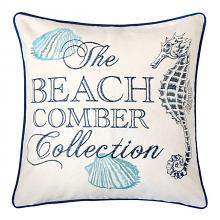 "PL8071 Set of 2 Katia beige and blue fabric nautical themed seahorse 20"" x 20"" throw pillows"