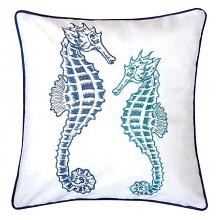 "PL8077 Set of 2 Lorrie white and blue fabric nautical themed double seahorse 20"" x 20"" throw pillows"