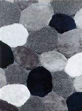 "RG4133 Vancouver 1.5"" thick navy and gray shades 3D design shag area rug"