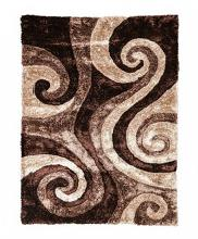 "RG5196 Fermont 1.3"" thick brown beige swirl 3D design shag area rug"