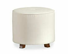 Custom upholstered round bedroom bench ottoman foot stool
