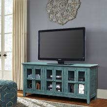 VH-9406  August grove geers santorini antique teal finish wood entertainment center TV stand