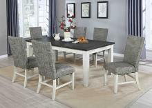 VH-8000-7PC 7 pc Gracie oaks saratoga two tone light gray and antique white finish wood dining table set