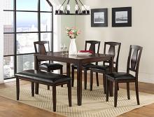 VH-565-6PC 6 pc Gracie oaks sedona brown finish wood dining table set