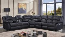 Mc Ferran MF-SF3596-3PC 3 pc Red barrel studio hattie black top grain leather match recliner ends sectional sofa