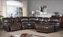 Mc Ferran MF-SF3673-4PC 4 pc Red barrel studio hattie brown leather aire recliner ends sectional sofa with chaise