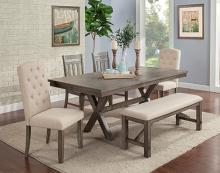 VH-3000-6PCA 6 pc Gracie oaks shelter cove light grey wire brush finish wood dining table set with bench