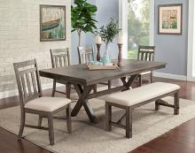 VH-3000-6PC 6 pc Gracie oaks shelter cove light grey wire brush finish wood dining table set with bench