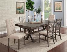 VH-3000-7PC 7 pc Gracie oaks shelter cove light grey wire brush finish wood dining table set