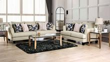 SM1281 2 pc Beige burlap weave fabric sofa and love seat set