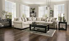 SM1290 2 pc Stapleford beige chenille fabric sectional sofa set with featherblend cushions