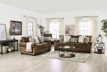SM1295 2 pc Rosdorf park orborne brown chenille fabric sofa and love seat set
