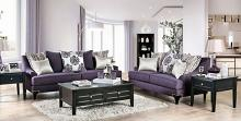 SM2208 2 pc Sisseton purple chenille fabric sofa and love seat set