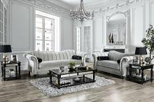 SM2227 2 pc Rosorf park marvin pewter small weave chenille fabric sofa and love seat set