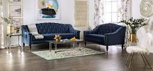 SM2230 2 pc Rosdorf park martinique blue velvet like fabric camel back tufted design sofa and love seat set