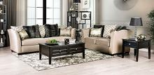 SM2273 2 pc House of hampton tuck hampden beige chenille fabric sofa and love seat set nail head trim