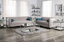 SM2283 2 pc House of hampton tuck silvan gray velvet like tufted fabric sofa and love seat set