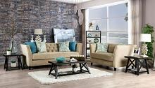 SM2666 2 pc Mercer41 ramage monaghan camel chenille fabric sofa and love seat set tufted back