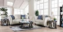 SM2667 2 pc Darby home Co. Porth ivory linen like fabric sofa and love seat set tufted back