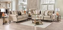 SM2676 2 pc Rosdorf park myra briana beige chenille fabric sofa and love seat set