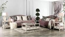 SM2682 2 pc House of hampton Campana blush pink velvet like fabric sofa and love seat set nail head trim
