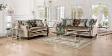 SM2685 2 pc Rosdorf park myra elicia champagne chenille fabric sofa and love seat set